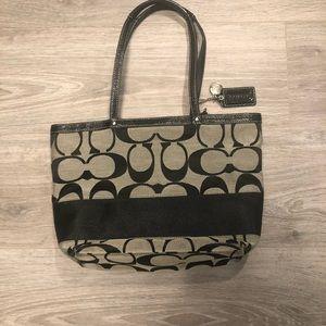 Coach Jacquard/Leather Tote Shoulderlu Bag